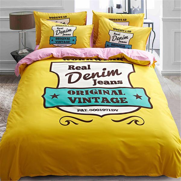 100% Cotton Bedding Set British StampsTower Black White Single Dog Duvet Cover Set,Rainbow Elk Bed Sheet Rabbit Bed Linen Sets