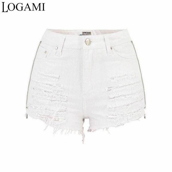 LOGAMI Both Size Zipper Star Embroidery Ripped Denim Shorts White Women High Waist Jeans Shorts Beach Wear