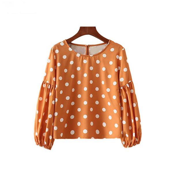 Blusas Con O Puntos Estampado Larga Linterna Manga Señoras Camisas Cuello Lindas Elegantes De Plisadas Mujeres E5TBqnzfw