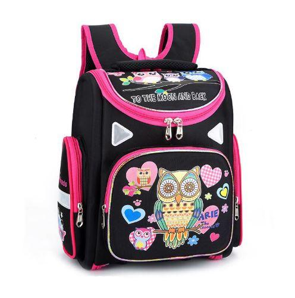 Brand 1-3 grade orthopedic school bags Cartoon butterfly owl cat pattern for girls nylon Folded Children Primary School Backpack
