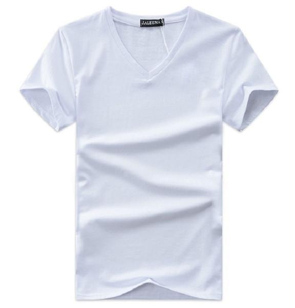 Лето мужская V-образным вырезом футболка новые хлопок Tee твердые мода футболка повседневная с коротким рукавом Slim Fit топ рубашка для продажи