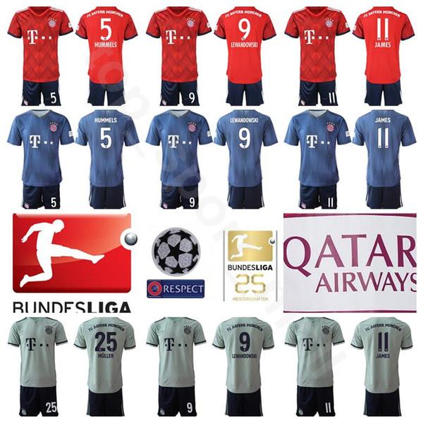timeless design b10c8 7aebd 2019 2018 2019 Bayern Munich Soccer 5 Mats Hummels Jersey Set Bundesliga 9  Robert Lewandowski 11 James Rodriguez Red Football Shirt Kit Uniform From  ...