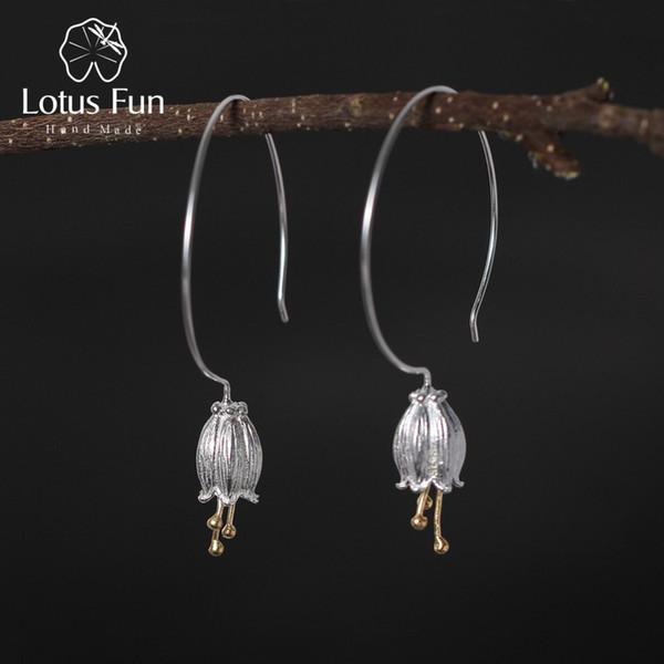 Lotus Eğlenceli Gerçek 925 Ayar Gümüş Doğal Yaratıcı El Yapımı Güzel Takı Taze Çan Çiçek Dangle Küpe Kadınlar için Brincos
