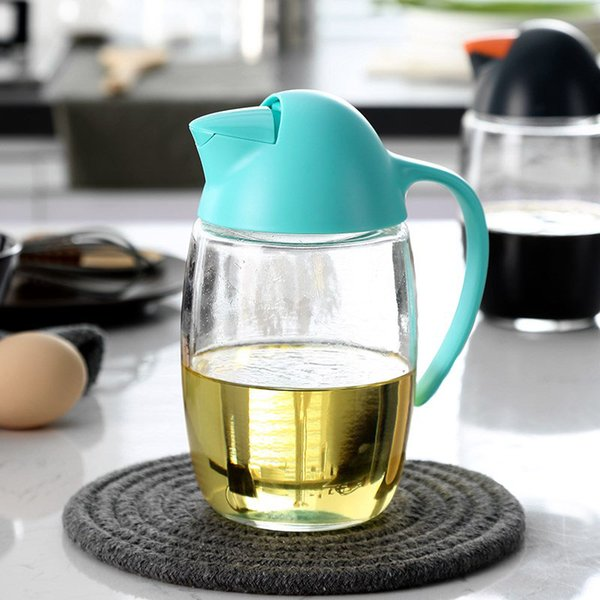 Penguin Design Glass Automático Flip Oil Dispenser Large Capacity Prueba de fugas Vidrio sin plomo Olive Oil Vinegar Bottle 620ml 21oz
