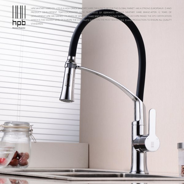 HPB 360 Degree Rotation Rubber Flexible Pull Down Kitchen Mixer Faucet Brass Chrome Sink Tap Single Handle Hot Cold Water HP4119