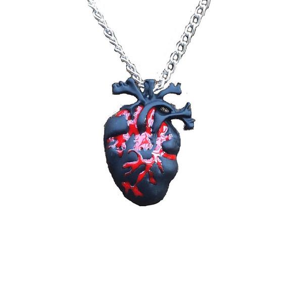 1pc Collana cuore anatomia nera Collana cuore rosso sangue anatomico sanguinante Love Horror Alterantive