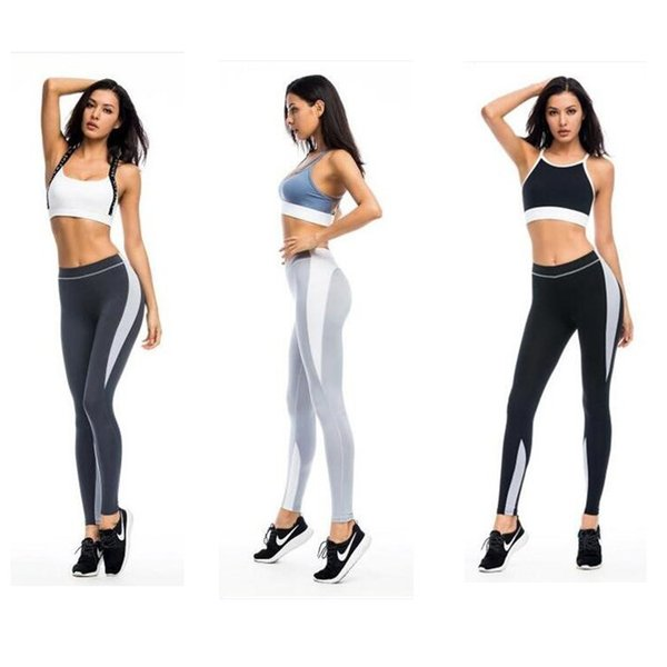 Women Fitness Yoga Long Pants Sportswear Europe and America Splicing Color Running Sports Leggings Tight Elastic Quick dry Pencil Trousers
