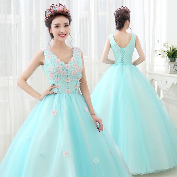 052e31aa7add Vestidos de quinceanera verde de agua vestidos de 15 años largo para festa  com flores rosa