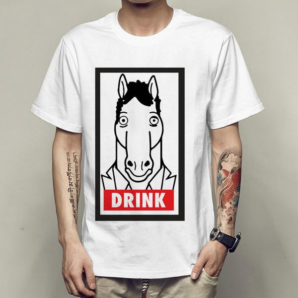 Drink t shirt Cartoon horse short sleeve gown Suit animal tees Casual printing clothing Quality modal Tshirt
