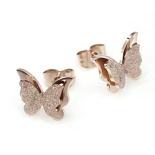 Women Fashion Cute Double Frosted Bling 3D Butterfly Rose Gold Earrings Surgical Stainless Steel Stud Earrings Jewelry Gifts