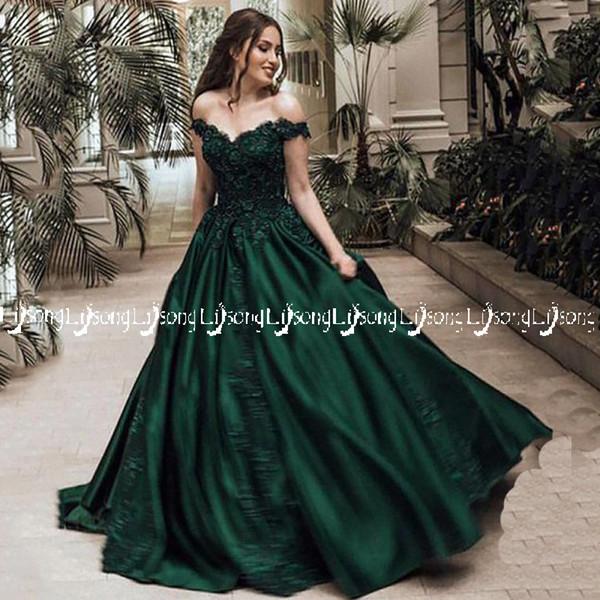 2018 émeraude robe de soirée épaule hors robe de bal Appliques Dubaï robe de fête d'hiver Fête de bal d'usure porter robe de bal à lacets avec jupon