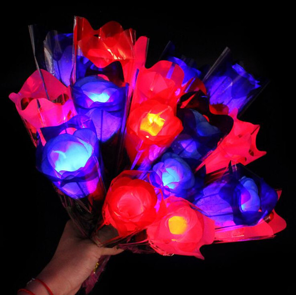 LED Light Up Rose Flower Glowing Valentines Day Wedding Decoration Fake Flowers Party Supplies Decorations 600pcs OOA5855