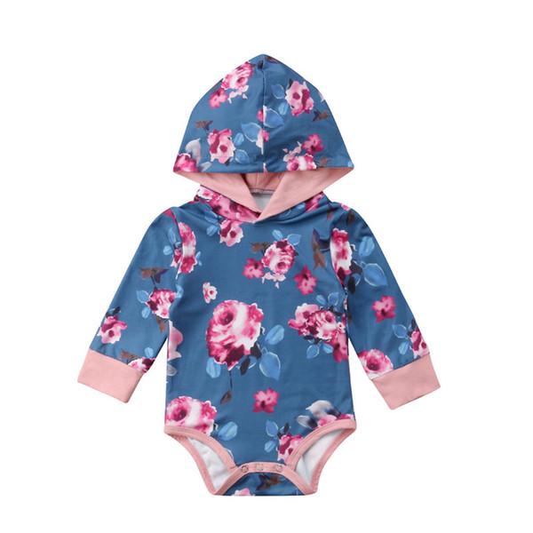 Baby Girl Floral Hoodies Mameluco Recién Nacido Niños Primavera Otoño Triángulo Flor Impreso Jumpsuit Manga Larga Playsuit Ropa 0-2Y