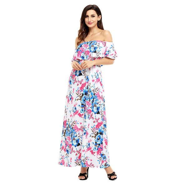 Maxi Dresses Summer Flower Print Mint Grounding Off Shoulder Long Boho Dress Club Party Dress Vestidos Longo