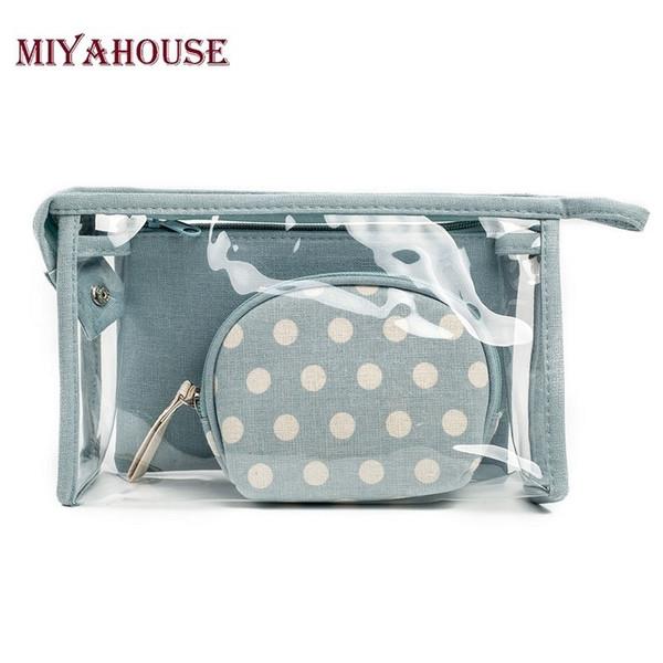 Miyahouse Dot Printed Cosmetic Bags 3pcs/set Women Make Up Bag Travel Toiletry Bags Storage Case Holder Organizer Cosmetics Bag