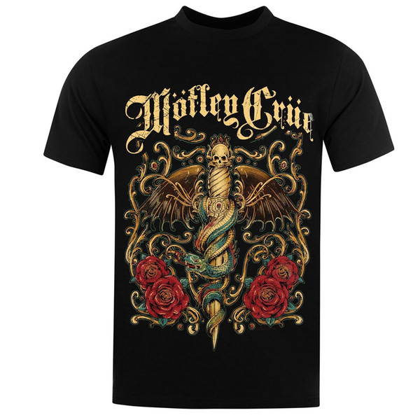 Official Motley Crue T-Shirt Mens Black Tee Shirt Top