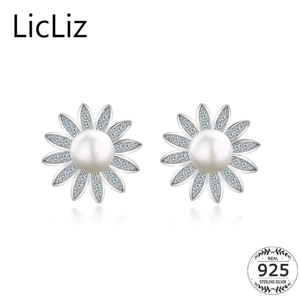 LicLiz 925 Sterling Silver Freshwater Pearl Stud Earrings Post Earing Women Paved Cubic Zirconia Sun Flower Studs Earring LE0370