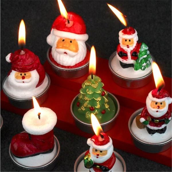 Noel kutluyor dekoratif mum 3 adet bir set karikatür tipi santa kardan adam ev sevimli plastik kutu ev kullanımı dükkanı pub kullanımı kaliteli