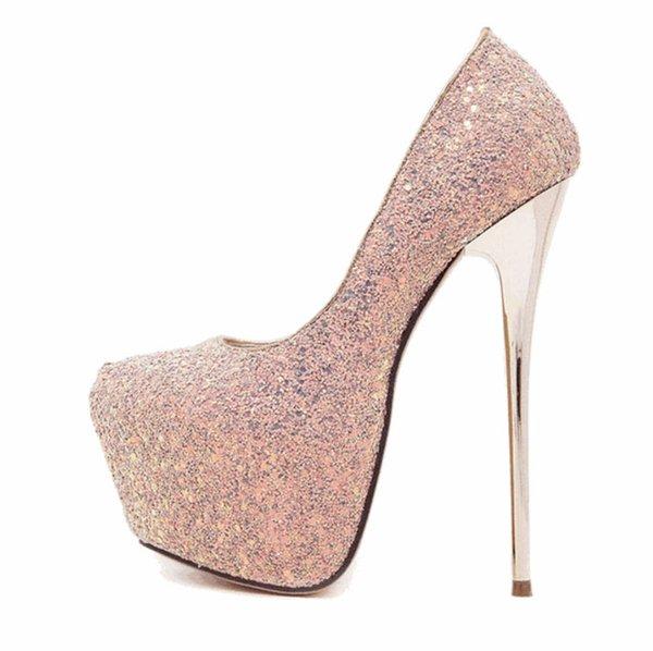 Moda Sequins Kadın Elbise Ayakkabı 2019 Seksi tasarımcı kadın topuklu Bayan Platform Ayakkabılar Taklidi Düğün Stiletto Topuklar Siyah ...