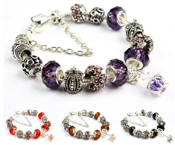 20CM Charme Bracelet 925 Argent Pandora Bracelets Pour Les Femmes Royal Crown Bracelet Violet Perles De Cristal Diy Bijoux avec logo