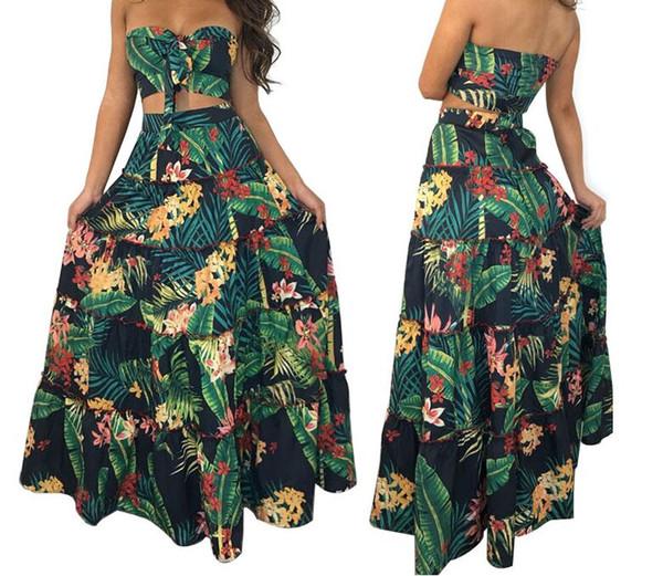Sexy böhmischen Kleider drucken zwei Stück Damen Bekleidung Bekleidung Knöchel Länge Bekleidung ärmellose Damen lang plus Größe Strand Kleider Sommer