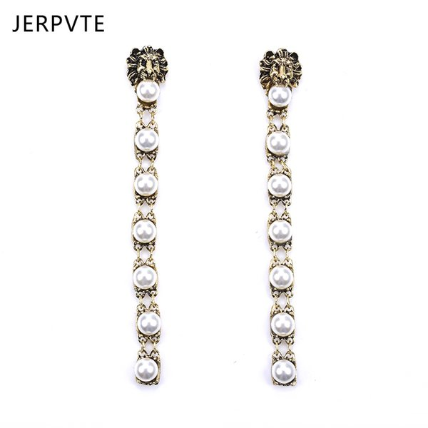 JERPVTE Ethic Lion Head Earrings Fashion Imitation Pearl Tassel Earrings Wholesale Jewelry Female Party Bridal Jewelry