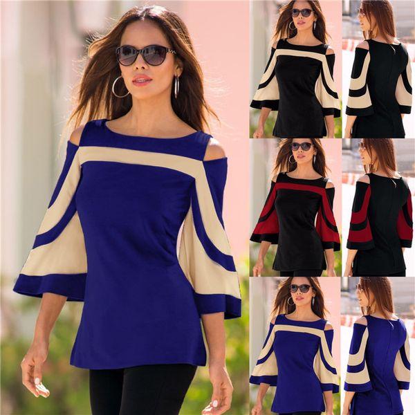 Women Black Striped 3/4 Batwing Sleeve Elegant Summer Tops Tee Female 2018 Spring Off Shoulder T Shirt Ladies Clothing 180705