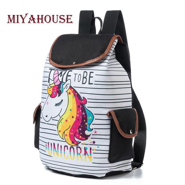 Zaini Miyahouse con coulisse Design Zaino casual colorato con stampa unicorno per borsa da scuola per ragazze Zaino da viaggio a strisce alla moda