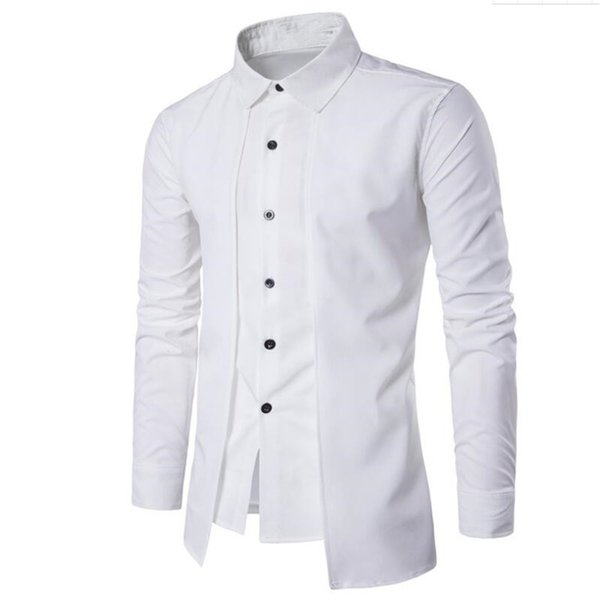 Double Placket Shirt Handsome Boy Novelty Streetwear Gentleman White Wedding Blouse Business Office Casual Blusa England Style
