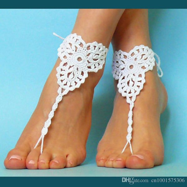 Wedding Lolita White Shoes,Crochet Barefoot Sandals,Sexy Nude shoes, Yoga socks Black Anklet, jewelry for the foot.
