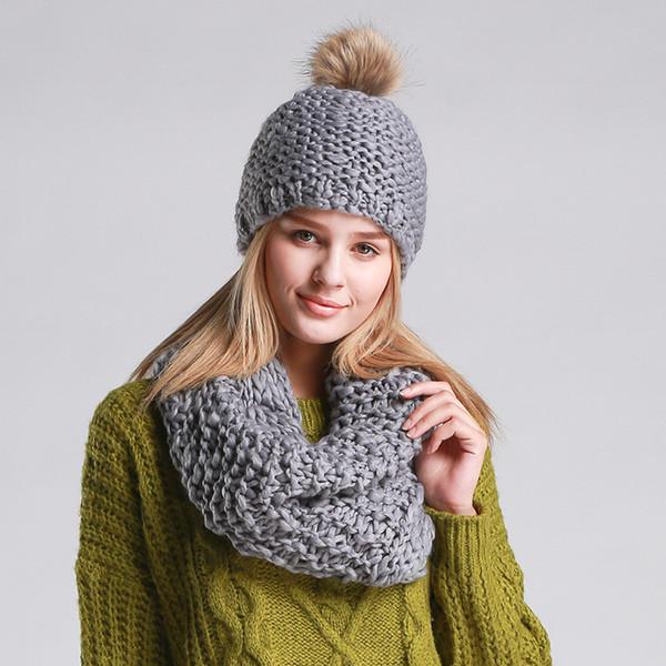 Wool ball hand weaving winter ladies collar hat suit wild two sets women warm scarf beanies accessory girls neckerchief caps