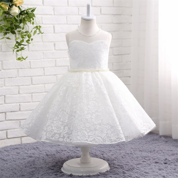 2019 tea length white Ball Gown lace Flower Girl Dresses for wedding pearls wasit jewel neck Glitz Infant Toddler Baby Kids Frock Design