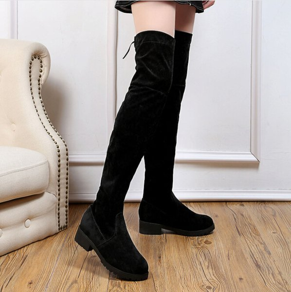 2019 autumn & winter new small pepper thick over the knee boots ladies black flat bottom thin stovepipe long boots