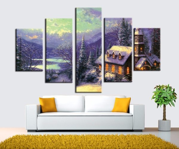 Canvas art wall pictures for living room thomas kinkade 5 combinations posters pastoral scenery home decor Snow scene