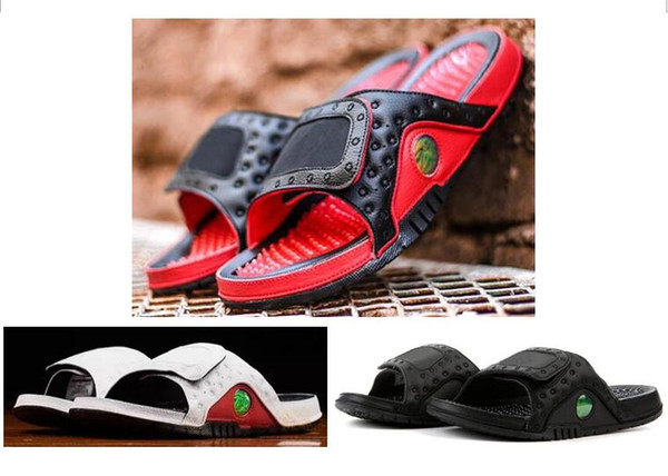 Alta calidad 13 Hydro Slippers Men 13s Chicago Gym Rojo Negro Diapositivas Zapatillas Summer Beach Sandalias de moda casual con caja de zapatos