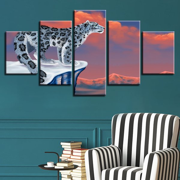 Home Decor 5 Pieces Tiger Leopard Scenery Canvas Paintings Modular Living Room Wall Art Posters Modern HD Print Animals Pictures