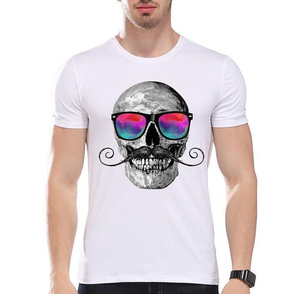Skull Italian Mustache And Colorful Vibrant Glasses Funny Joke Men T Shirt Tee T Shirt Hot Topic Men Short Sleeve