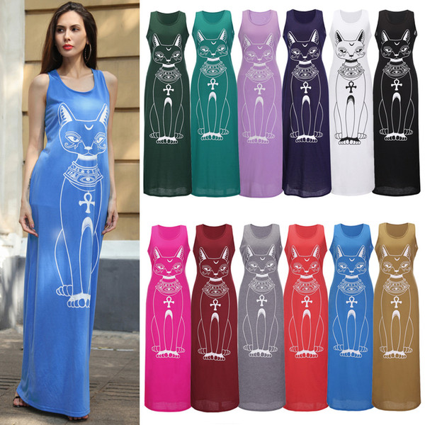 Women Vest Tank Maxi Dress Silk Stretchy Casual Summer Long Beach Dresses  Sleeveless Backless Lady Evening Party Dresses Clothing Plus Size Dresses  ...