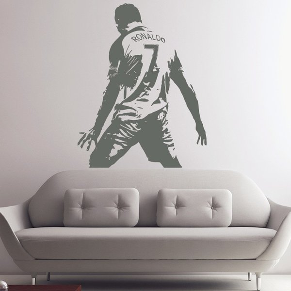 Large Size Cristiano Ronaldo Figure Wall Sticker Vinyl DIY home decor football Star Decals Soccer Athlete Player Decals for Kids Room