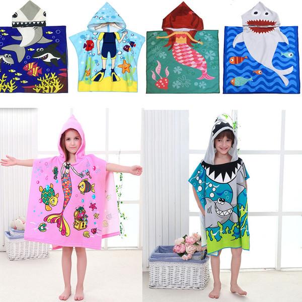 Nette Karikatur-Meerjungfrau-Haifisch-Kind-mit Kapuze Umhang-Strand-Tuch Microfiber-Jungen-Mädchen scherzt Schwimmen-Bademantel für Baby-Nachtwäsche