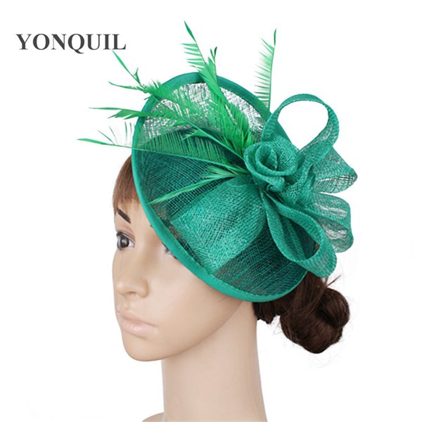 Sinamay fascinator hats base jeadband with feather strip women wedding hats party hairclips cocktail headwear hair accessories free shipping