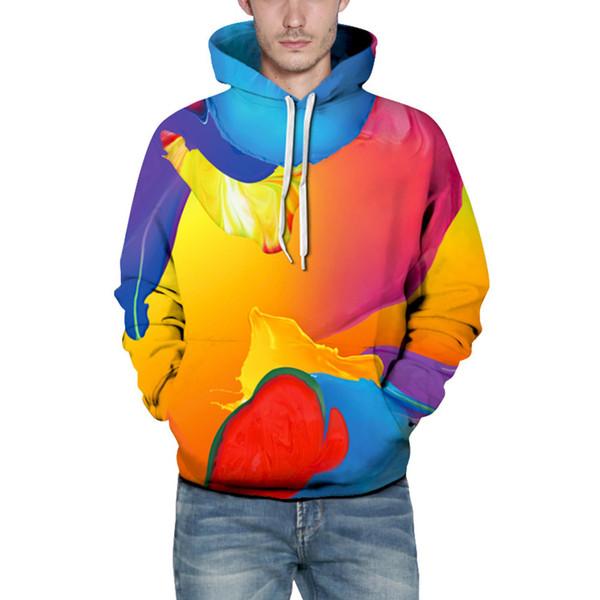 Мужчины толстая одежда зимние толстовки повседневная Осень Зима 3D печать с длинным рукавом шапки толстовка топ Блузка
