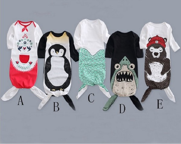 Sac de couchage sirène ours pingouin nouveau-né coton chaud bébé garçons filles été sac de couchage couverture portable pour 0-12 mois