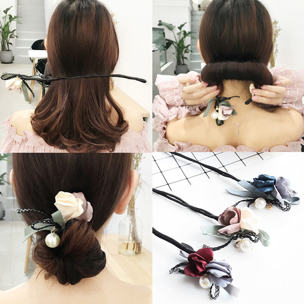 Flower Hair Accessories Magic Bun Maker Girl Donut Device Quick Messy Women Pearl Hair Bands French DIY Hairstyle Headband Tools