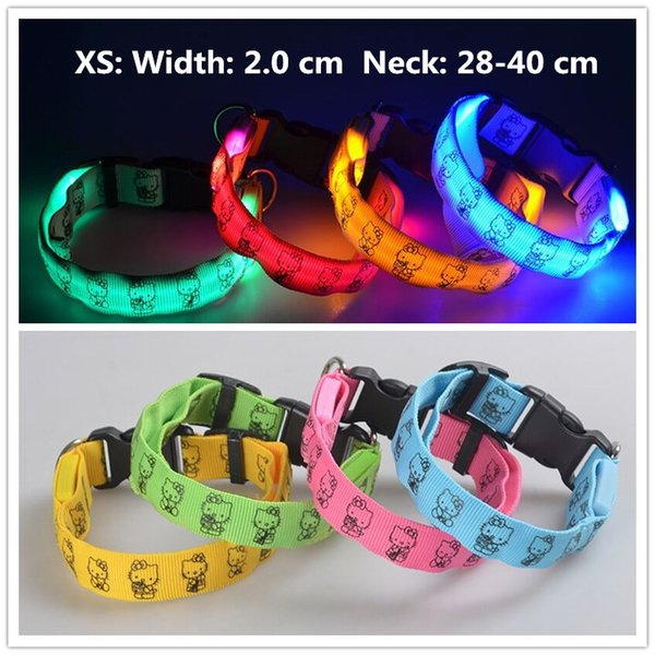 A51 Pet LED Collar Puppy led Necklace Night Safety Glow Flashing Dog Cat Collars 2.0 width XS led collar for small pets