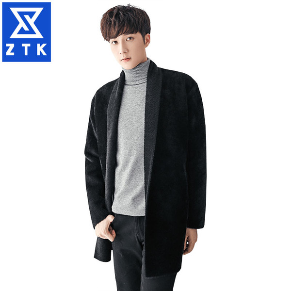 Зимняя корейская версия тенденции мужчин длинные красивый и тонкий тренч пальто мужчины личность чистый цвет пальто