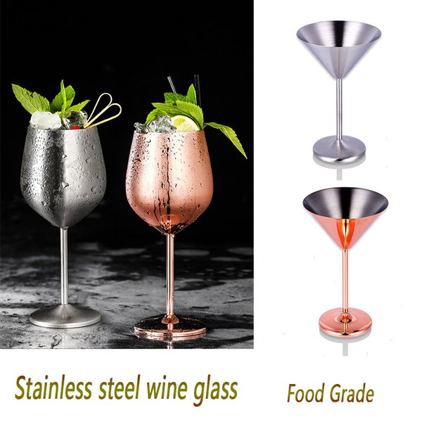 17oz Stainless Steel wine glass tumbler Goblet Martini Champagne Cocktail Hanap wine glasses Beer Drink Metal Cups for wedding party Bar
