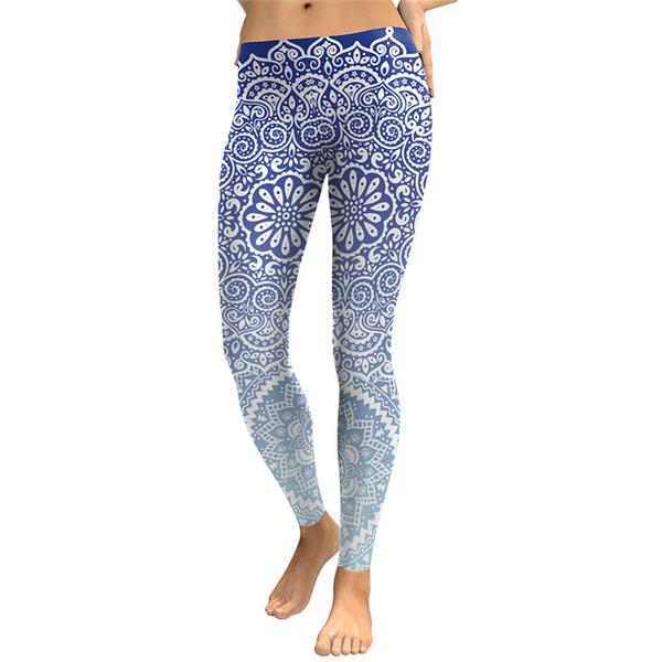 Wholesale Free Shipping Women Leggings Fresh Lotus Digital Print Pant Women Tights Fitness Workout Plus Size Legging