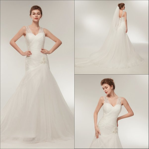 Stunning V-Neck Sequins Mermaid White Wedding Dresses Pleated Sheer Plus Size Arabic Corset Stock Bride Dress Bridal Ball Gowns Stock 2-16