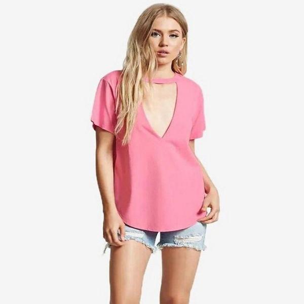Sexy Low-cut футболки мода лето V-образным вырезом тройники для подростков тонкий розовый сексуальные женские футболки размер S-XL
